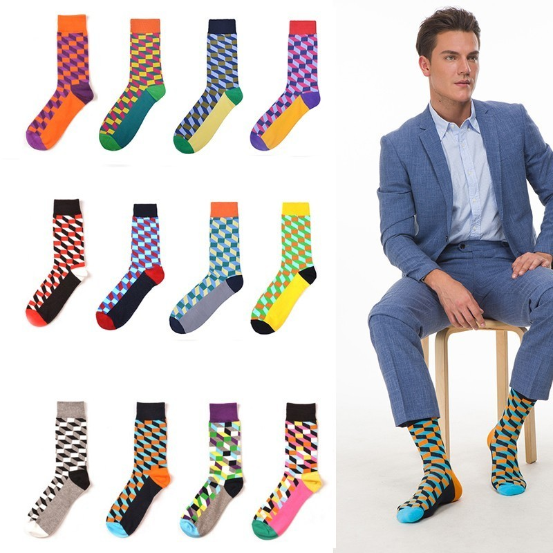 Men's Tube Cotton Happy Socks Fashion Colorful Multi Pattern Rhombic Lattice Male Streetwear Cozy Funny Stockings Novelty Fun