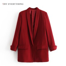 Red Blazer Women Long Casual Jackets Black Womens Blazers Sleeve Ladies And Woman 2019