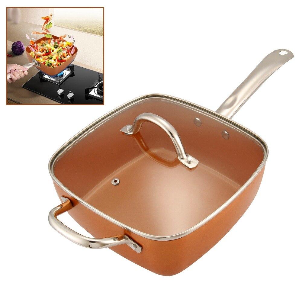 4in1 cuivre carré poêle panier à frire plateau à vapeur antiadhésif verre couvercle frire filtre panier vapeur Rack batterie de cuisine Set fournitures de cuisine - 2