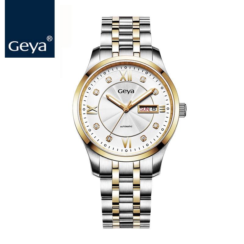 4d8e92c273f Geya Men s Golden Wrist Watches Fashion Business Top Luxury Watch Men Roles  Automatic Mechanical watch chinese Relogio Masculin