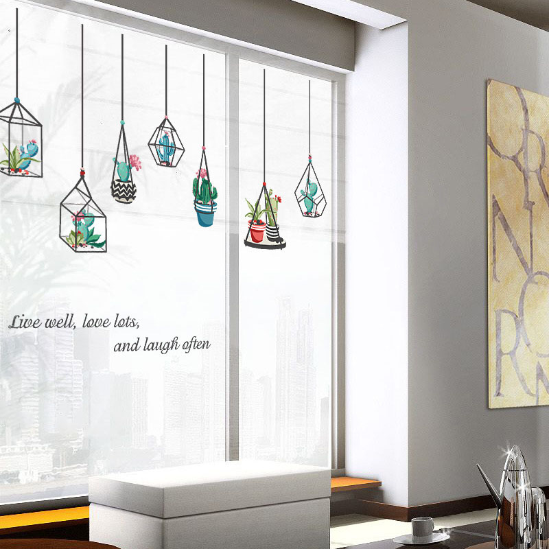 Hanging Baskets Potted Plants Wall Sticker DIY Glass