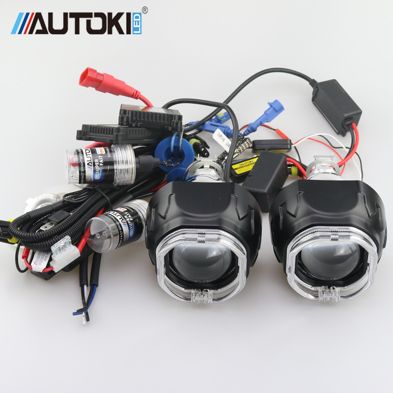AUTOKI 2 5inch Bi xenon projector lens with square led light guide LED daytime running light