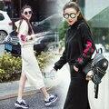 2017 осенне-зимней моды с капюшоном вышивка свитер + с высокой талией пакет бедра юбка длинная юбка 2 шт. набор женщины