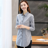 Women Striped Shirts 2018 Summer New Long Sleeve Casual Blouses Linen Fashion Blouse Loose Plus size 4XL Tops