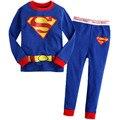 2015 новых мальчиков, одежда для девочек наборы дети детская одежда костюмы 2 шт. пижамы с длинным рукавом пижамы мультфильм костюмы 100% хлопок