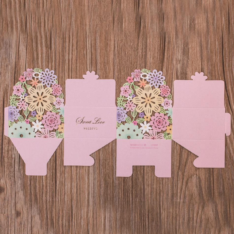 Wishmade Colorful Classic Floral Laser Cut Candy Boxes DIY Wedding ...