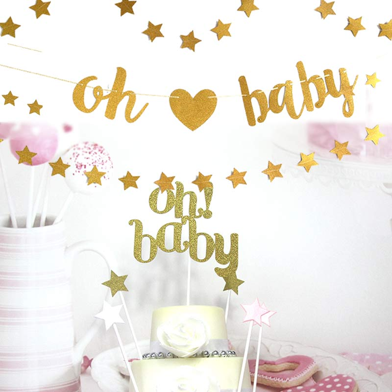 Oh Baby Banner Birthday Party Decoration Oh Baby Cake Flag