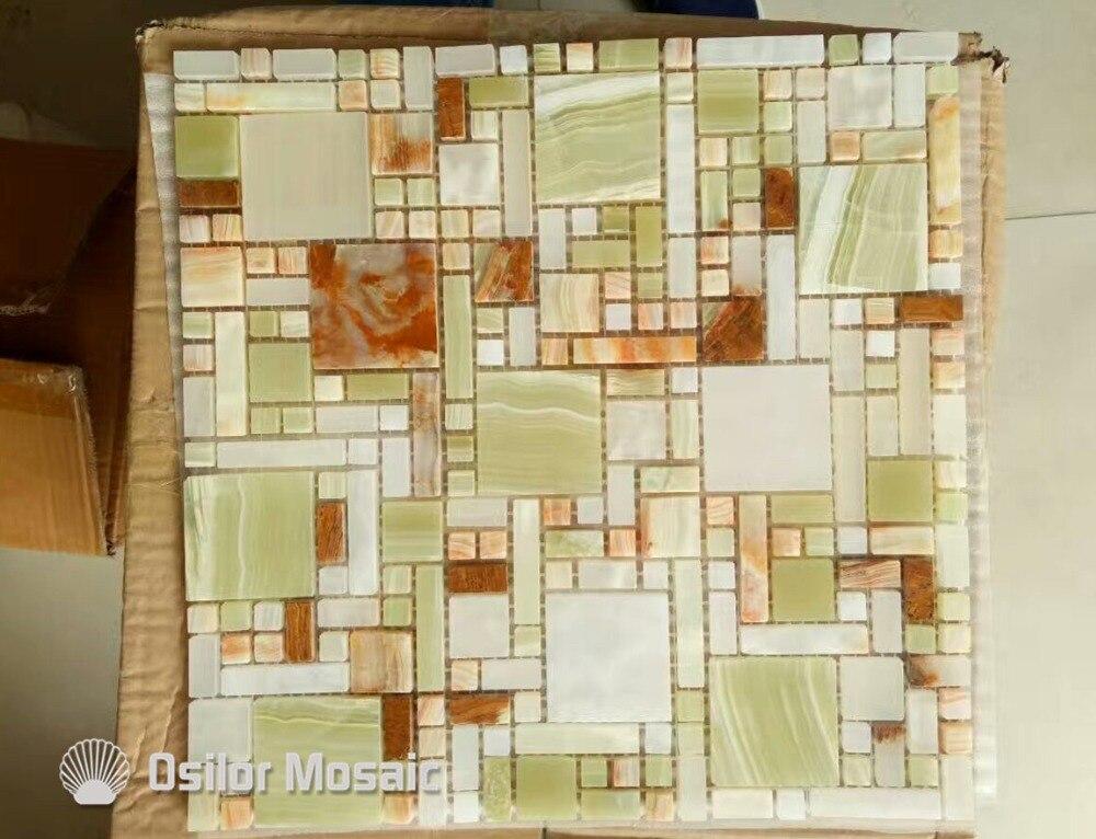 Colore naturale mattonelle di mosaico di marmo giada pietra