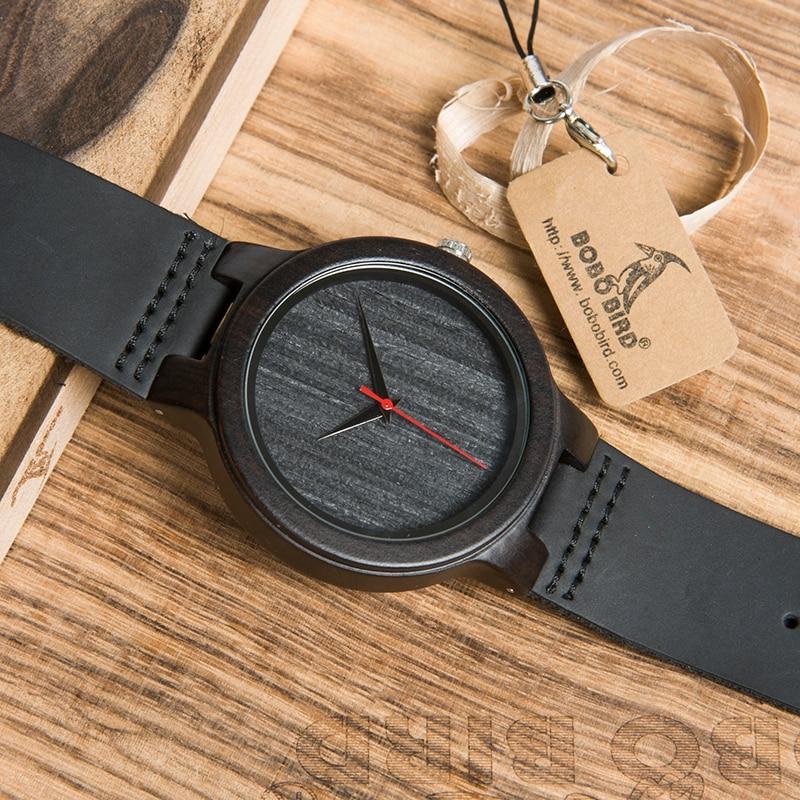 Image 5 - BOBO ptak WC22 drewno hebanowe zegarek z czerwona wskazówka skórzany pasek japan miyota 2035 mechanizm kwarcowy zegarki dla mężczyzn kobietywatch forwatches for menwatch with -