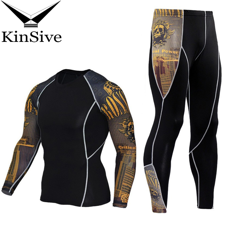 Men Tracksuit Set 3D Printed Quick Dry Tights MMA Workout Fitness Sporting Suit Compression Shirts Pants Rashguard Clothing Set