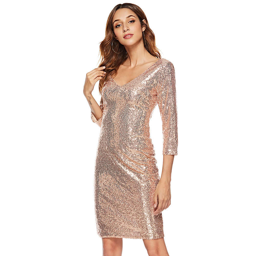 MUXU fashion gold sequin dress Sexy bodycon backless women clothing kleider  kleider fall party dress glitter 891e67852cf6