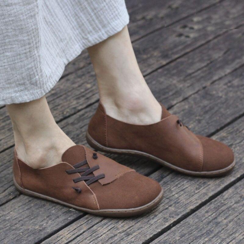 35 46 Women s Shoes plus size Plaine toe Slip on Ballet Flats Genuine Leather