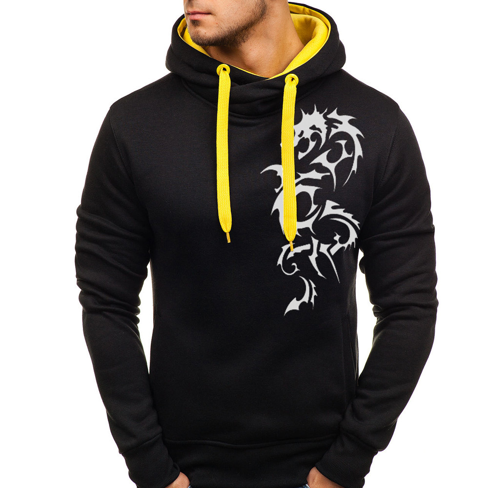 Hoodies Mens Dragon Printed Slim Printed Pullover Long Sleeve Hoodie Hooded Sweatshirt Tops Blouse Streetwear High Quality