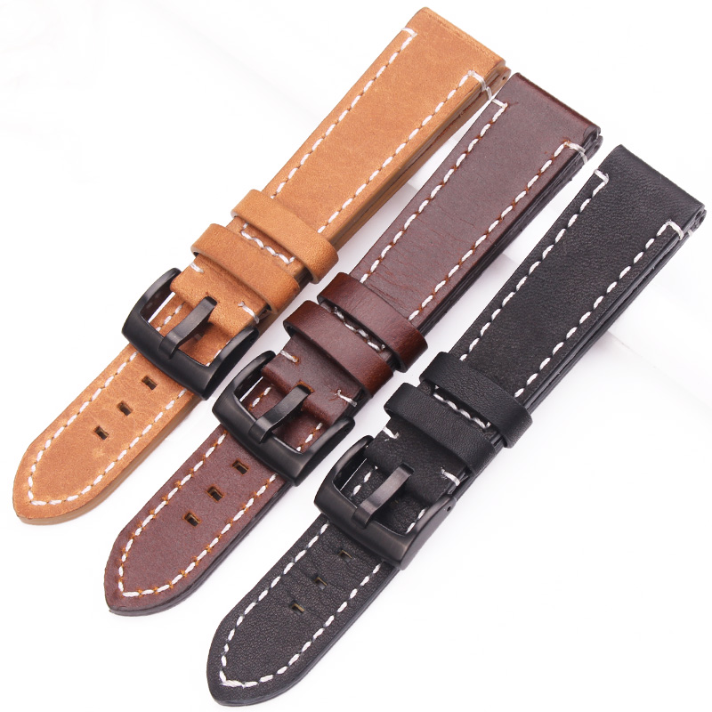 HENGRC 18mm 20mm 22mm Genuine Leather Watch Strap Belt Manual Men Thick Brown Black Watchbands Buckle Watches Accessories все цены
