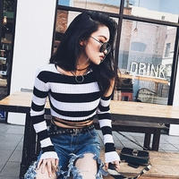 Momoluna  2017 Woman summer striped poncho Crop cropped jersey sweaters and pullovers pull femme kleding vrouwen trui