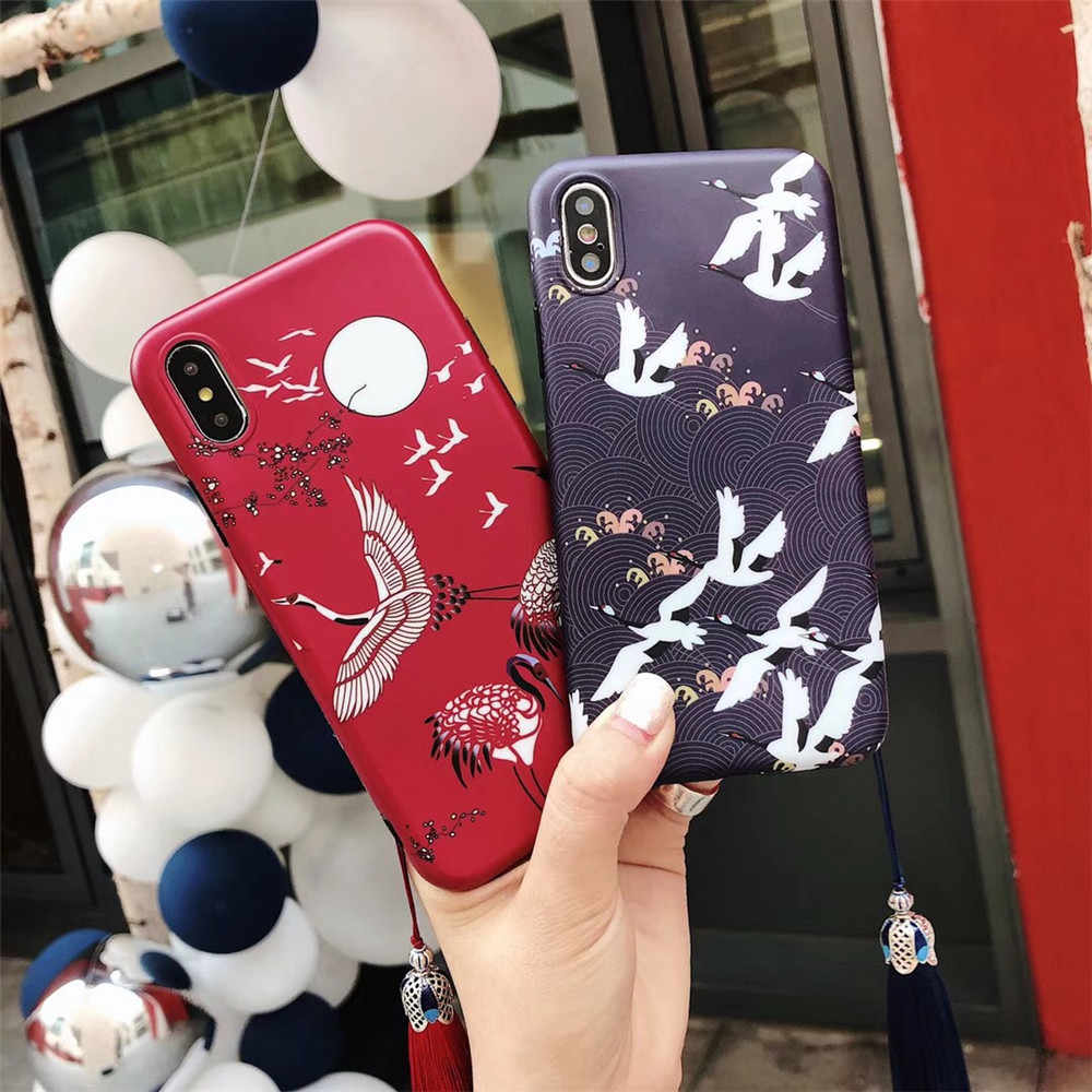 beeffaf032 Japanese Style Cherry Blossom Crane Tassel Phone Cases For iPhone X XS MAX  XR 6 6s 7 8 Plus Matte Soft TPU Silicone Back Covers
