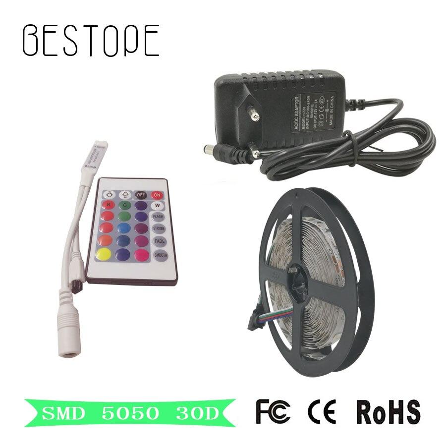4M RGB 5050 LED Strip light String Ribbon 12V 120 LEDs Tape / 24Keys IR Remote Controller For Indoor lamp & Decor lighting