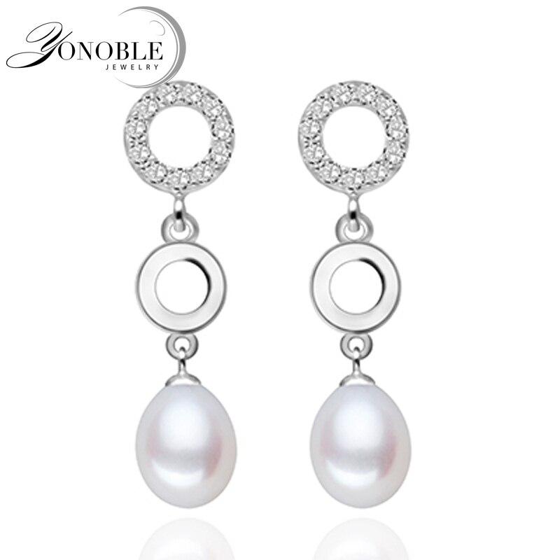 38d596d15d9b Real perla pendientes para las mujeres blanco perla pendientes 925 pendiente  de plata con perla joyas novia regalo de cumpleaños Grado Superior
