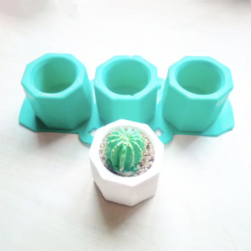 Cement pot Mold concrete multi-meat pot cement Clay Silicone Molds Nordic polygonal hole cement silica gel mould image