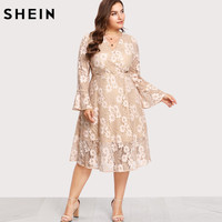 SHEIN Plus Size Lace Dress A Line V Neck Women Dress Flounce Sleeve Surplice Wrap Floral