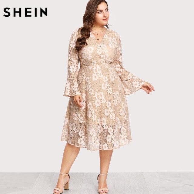 56c801ce69 SHEIN Plus Rozmiar Sukni Koronki Linia V neck Kobiety Sukienka falbanką  Komża Rękaw Wrap Floral Sukienka