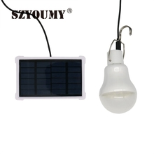 SZYOUMY High Brightness Solar Lamps 5V LED Bulb 15W 130LM Portable Outdoor Camp Tent Night Fishing Hanging Light Charged Energy