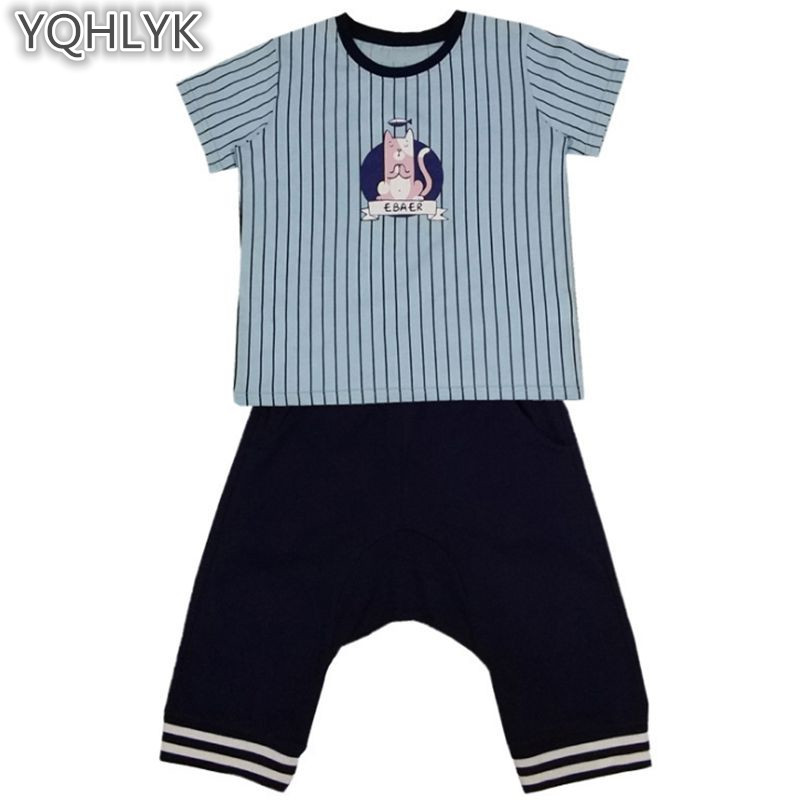 New Fashion Summer Boy Suit 2018 Childrens Boy Clothing T-shirt Tops + Trousers Casual Handsome Kids Cothes 2PCS Set W306 ...