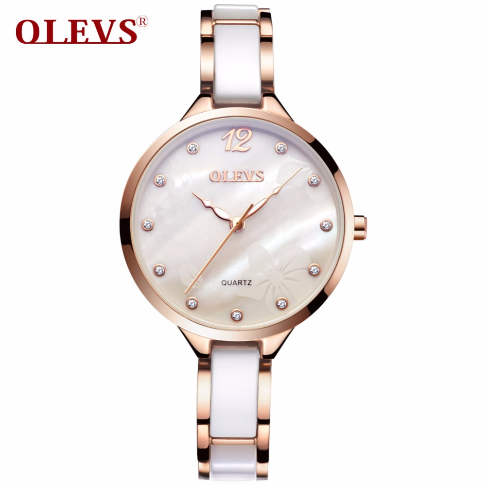 OLEVS Luxury Women Ceramic Watches Clock Gold Dial Quartz Ladies Wristwatches Top Brand Waterproof Luminous Watch For Woman 5872 top luxury wristwatches gold silver plated with austrian crystal ladies digital quartz watch waterproof drop shipping