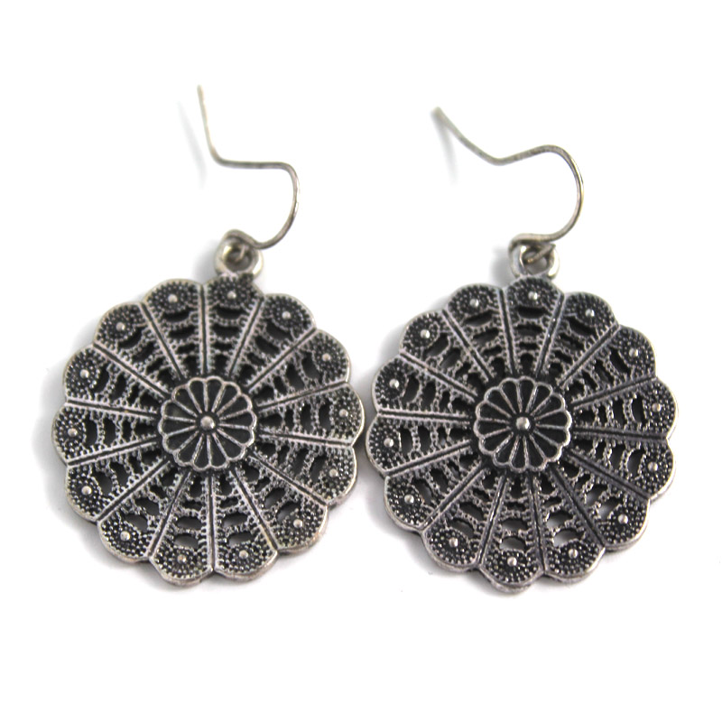Unique Design New Fashion Jewelry Style Vintage Sliver Hollow Flower Earrings Dangle Earring