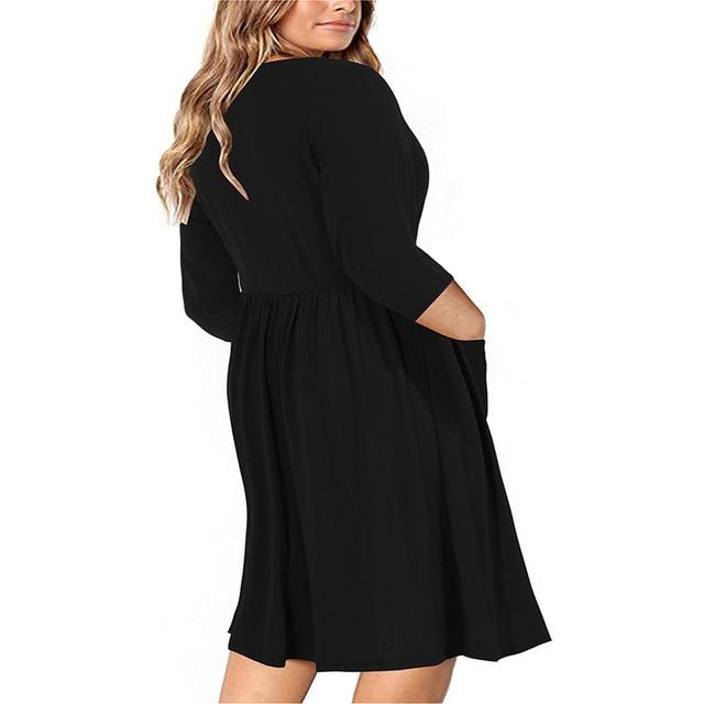 Big size 9XL dress for Fat MM 2019 Women Dress Loose pocket design solid plus size dresses women clothing party dress vestidos 2
