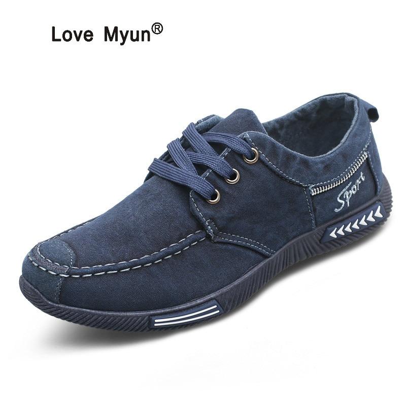 Canvas Men Shoes Denim Lace-Up Men Casual Shoes New 2017 Plimsolls Breathable Male Footwear Spring Autumn