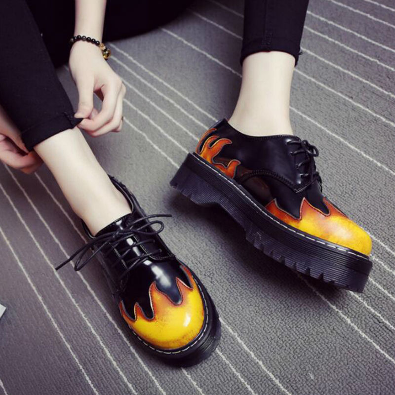 2af4c5e13bc Women Genuine Leather Motorcycle Martin shoes Platform Shoes Winter Fashion  Flame Pattern Rock Black Ankle Flats Punck 4.5cm-in Women s Flats from Shoes  on ...