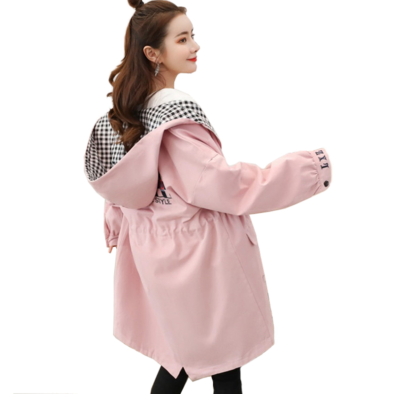 New Plus size   trench   coat women Spring autumn cotton Hooded Windbreaker students embroidery Casual tops thin   trench   female A2857