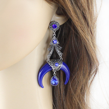 Niceshow Ethnic Style Indian Jewelry Antique Silver With Colorful Resin and Rhinestone Ox Horn Drop Earrings