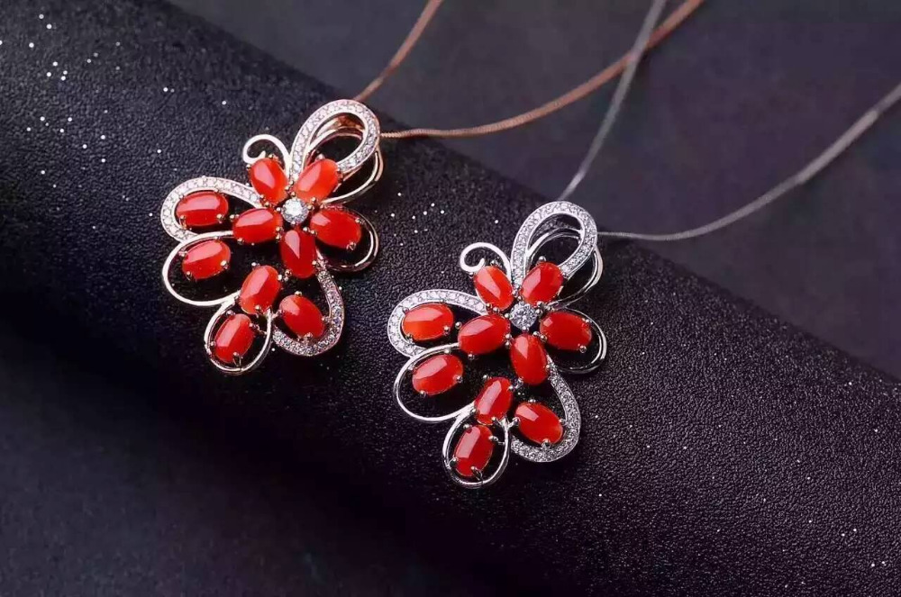 natural red coral pendant S925 silver Natural gemstone Pendant Necklace trendy big Luxury Flower group women wedding jewelrynatural red coral pendant S925 silver Natural gemstone Pendant Necklace trendy big Luxury Flower group women wedding jewelry