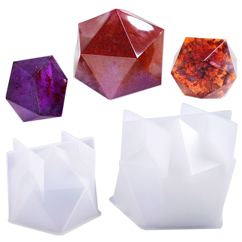 New Crystal Epoxy Mold Desktop Table Decoration Jewelry Large Multi-faceted High Mirror Resin Silicone Mould X4YA