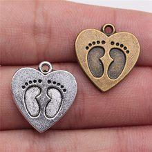 WYSIWYG 10 pièces 19x18mm 2 couleurs Antique Bronze plaqué coeur pieds pendentifs pieds coeur breloque pieds coeur pendentifs