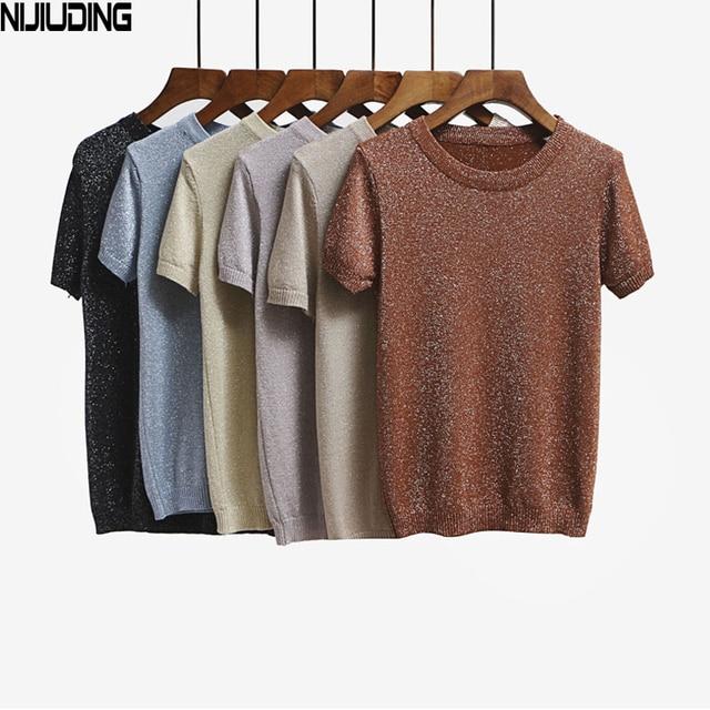 NIJIUDING 2017 Summer Knitted T Shirt Top Tees Short Sleeve Solid O-neck T-Shirts Fashion Slim Knitwear T-shirt Dropshipping