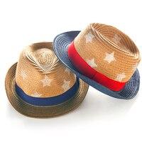 Mode Sterren Stro Kind Zomer Jongen Boho Strand Fedora hoed zonnehoed Trilby Meisje Panama Hoed Gangster Cap Goede Pack 2-8 jaar