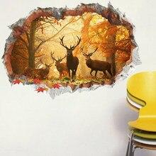 Gebrochen wand 3D Hirsche Elch wald wand aufkleber wohnzimmer abnehmbare für home dekoration hintergrund decals kunst landschaft Aufkleber