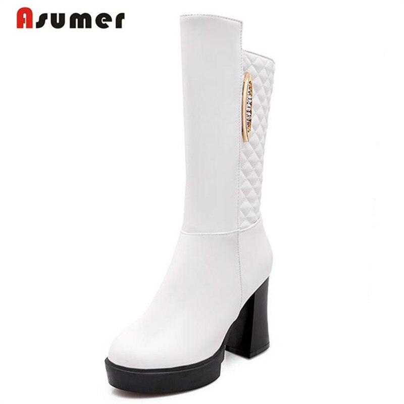 ФОТО ASUMER Big size 34-43 women winter mid calf boots platform shoes elegant sexy office lady pu rhinestone solid side zipper
