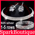 2016 Crystal Cubic Zirconia Necklace 925 Sterling Silver Earrings Bracelet Costume Wedding Jewelry Sets Airmail Free