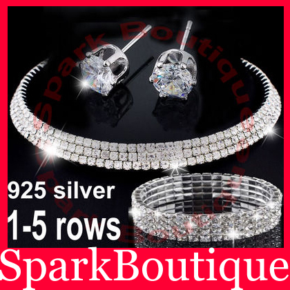2017New Rhinestone Necklace Earrings Bracelet Costume Wedding