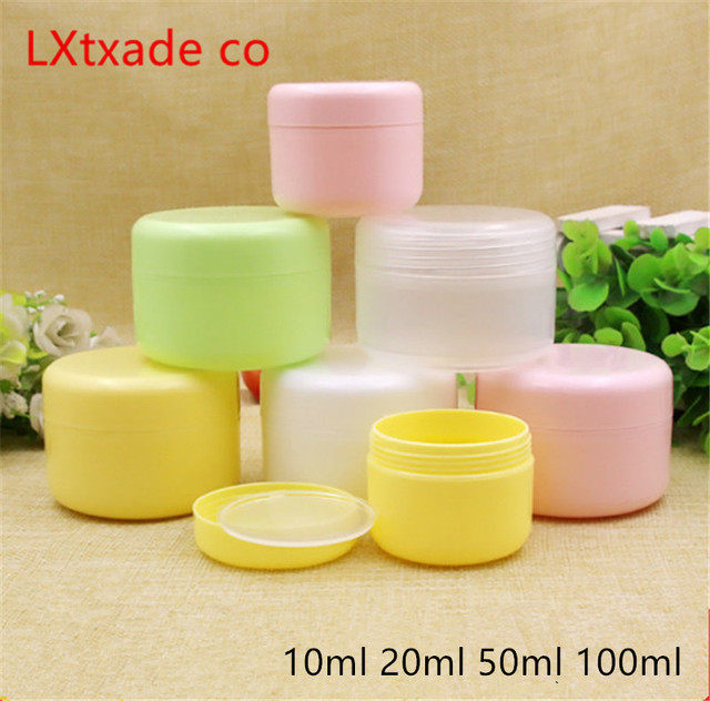 50 PCS Free Shipping 10 20 100 ML Plastic Empty Bottles Jars Inner Cap Cosmetic Cream Eye Gel Butter Packaging Containers