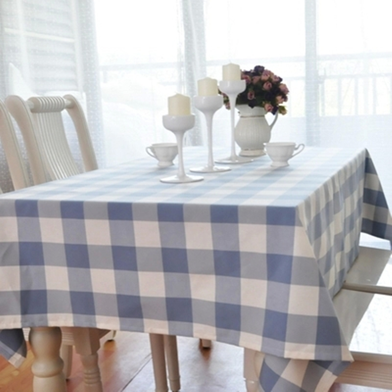 Europe Mediterranean Blue Color With Plaid Bar Cafe Home Kitchen Table  Cloth Tablecloth Rectangular Square Table ...