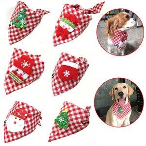 Image 1 - 30 sztuk świąteczne artykuły dla zwierząt ręcznie robione bawełniane regulowane psy kot chusty szalik muszki święty mikołaj Snowman akcesoria dla psa