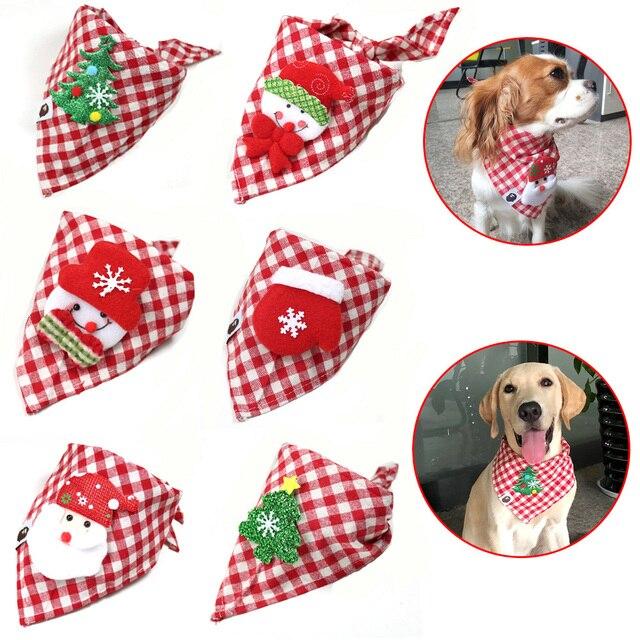 30 sztuk świąteczne artykuły dla zwierząt ręcznie robione bawełniane regulowane psy kot chusty szalik muszki święty mikołaj Snowman akcesoria dla psa