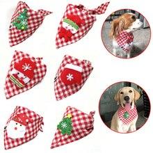 30pcs Christmas Pet Supplies Handmade Cotton Adjustable Dogs Cat Bandanas Scarf  Bowties Santa Claus Snowman Pet Dog Accessories