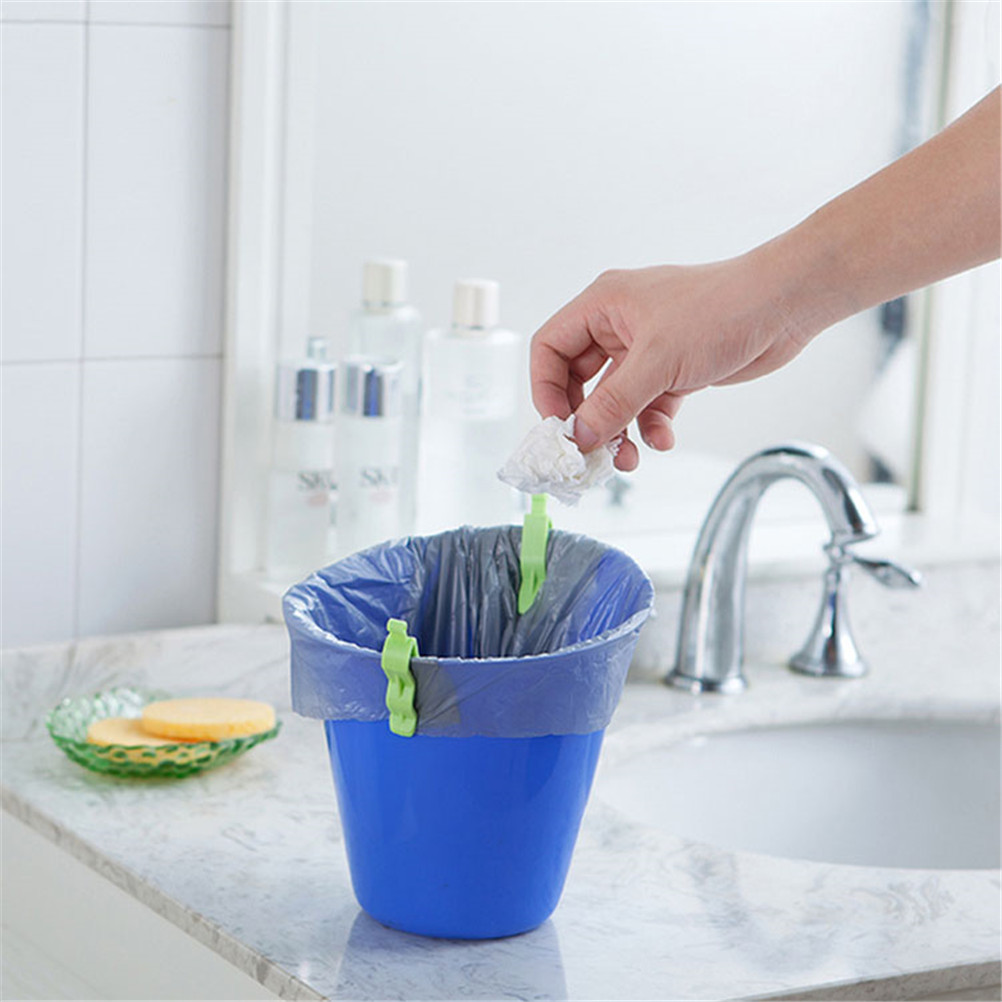 Multicolor Anti-skid 6pcs/set Kitchen Organizer Toilet Trash Cans Clip Shelf Garbage Bag Fixed Folder Barrel Edge Clip Rack