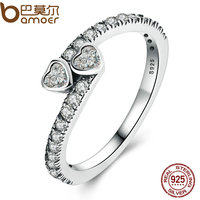 BAMOER Genuine 925 Sterling Silver Forever Hearts Clear CZ Finger Ring Women Wedding Jewelry PA7614